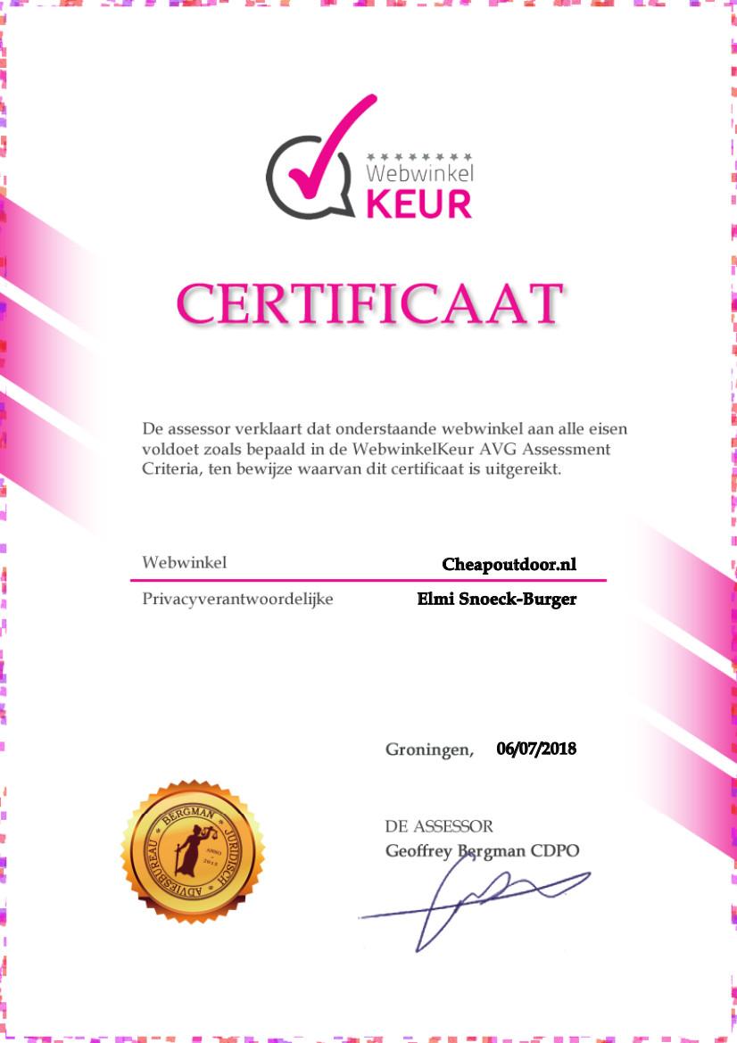 Certificaat CheapOutdoor